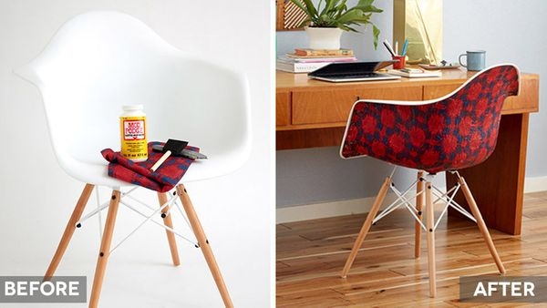 Give an old chair a facelift with the craft-closet staple—Mod Podge. This time around, skip the magazine clippings and pick a