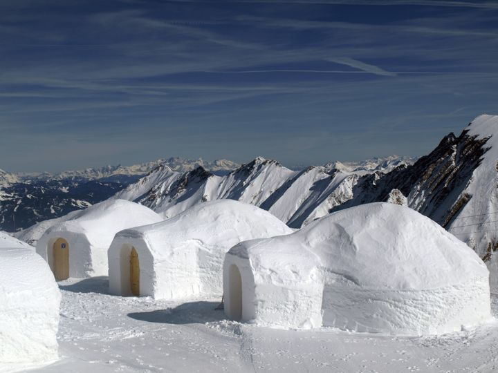 three igloos in the mountains ...