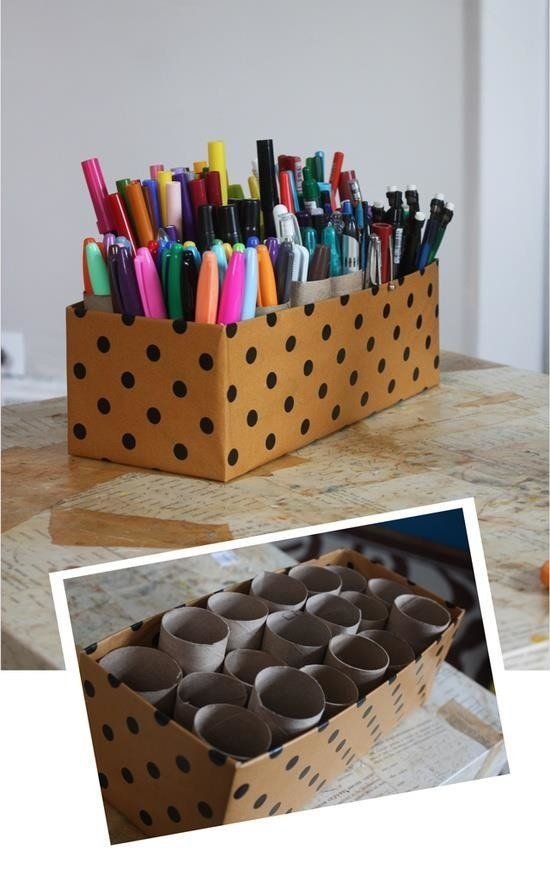 If you have a shoe box, some toilet paper or paper towel rolls and some glue, you have everything you need to make a caddy fo