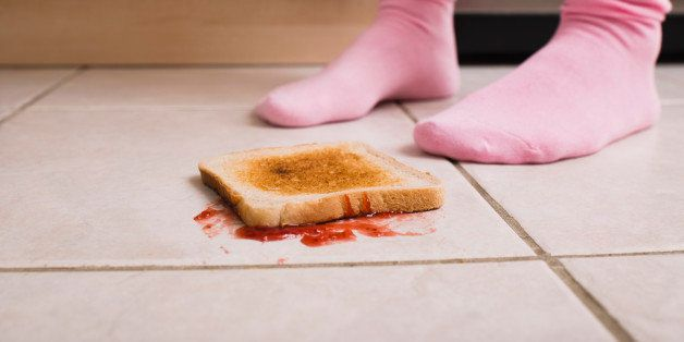 Jelly toast on floor