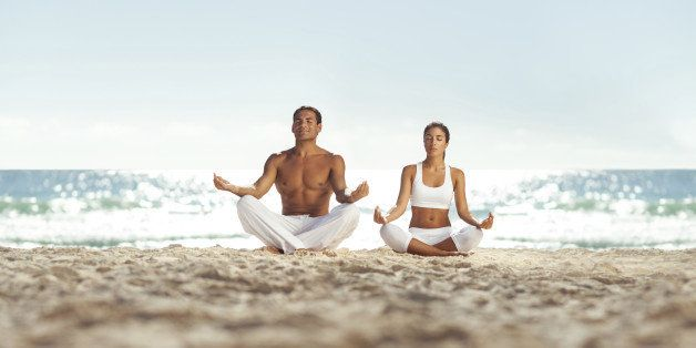 Couple relaxing and meditating