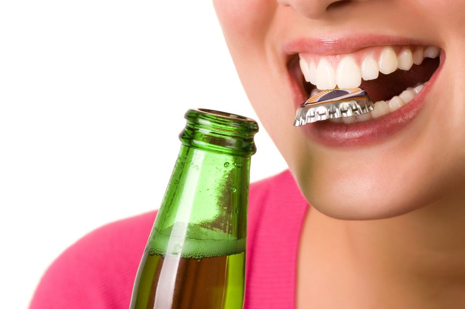 Especially bottles or wrappers.  Using your teeth as a can opener or chewing on pens, ice, or popcorn kernels can dull and ev