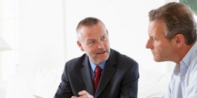 Financial advisor talking to customer