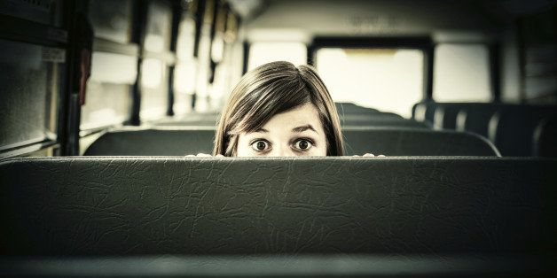 Terrified Student hiding in School bus