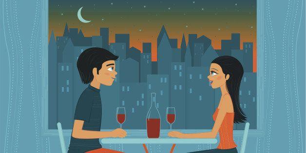 Cartoon Couple having a romantic dinner out