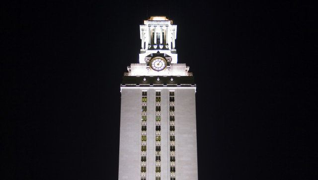 ut clock tower at night.