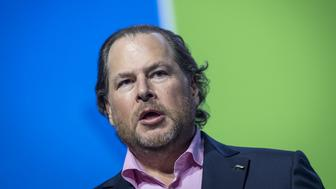 Marc Benioff, chairman and co-chief executive officer of Salesforce.com Inc., speaks during the Global Climate Action Summit in San Francisco, California, U.S., on Thursday, Sept. 13, 2018. The event brings together industry and political leaders working on improving the conditions and concerns facing climate in the world today. Photographer: David Paul Morris/Bloomberg via Getty Images