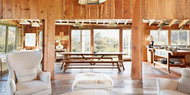 Decor, armchairs and walls in farmhouse living room