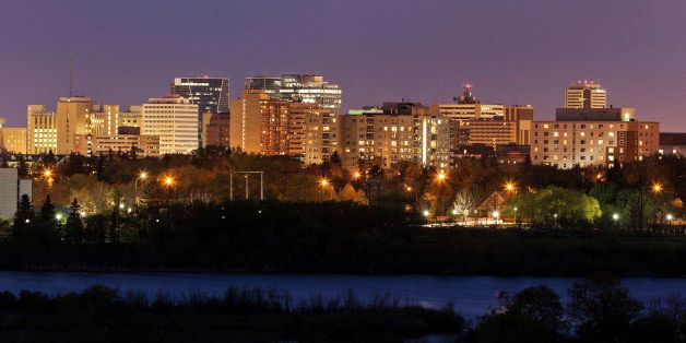 Skyline of Regina at sunset. Regina, Saskatchewan, Canada