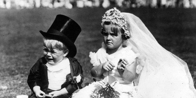 Children in fancy dress costume as bride and groom at Southend.
