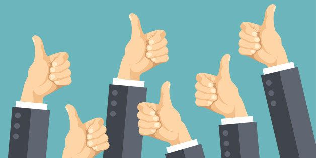 Many thumbs up. Social network likes, approval, customers feedback concept. Modern flat design concepts for web banners, web sites, printed materials, infographics. Creative vector illustration