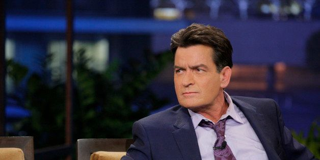 THE TONIGHT SHOW WITH JAY LENO -- Episode 4526 -- (EXCLUSIVE COVERAGE) -- Pictured: Actor Charlie Sheen during a commercial break on September 11, 2013 -- (Photo by: Paul Drinkwater/NBC/NBCU Photo Bank via Getty Images)