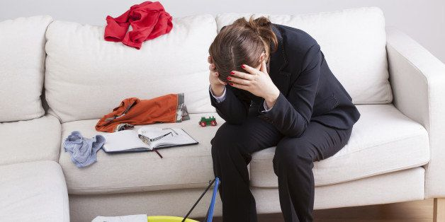 Woman who work and care of house is exhausted and stressed of her workload