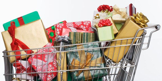 Shopping Cart Full of Christmas Presents