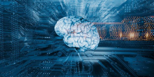 Artificial intelligence and communication, brain, circuit-board, micros and electrodes.