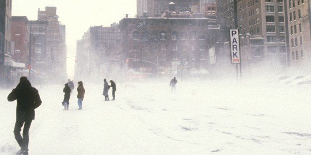 People Walking Streets During New York City Snow Storm