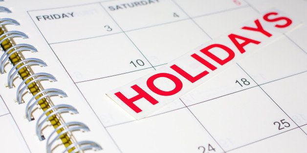 holidays word on the calendar