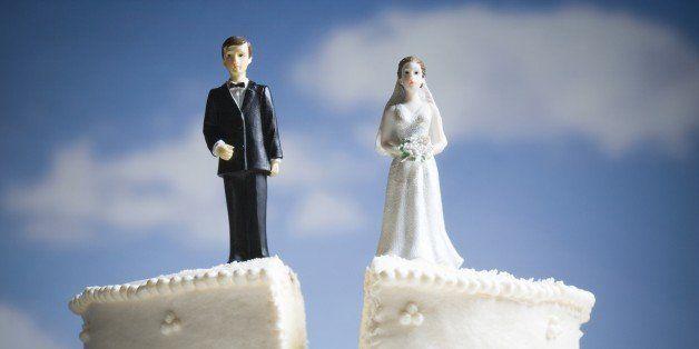 Wedding cake visual metaphor with figurine cake toppers