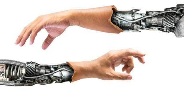 Metallic robot arm internal human hand isolated on white background for concept of the future technology