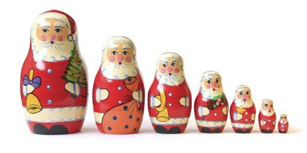 Cute old matrioshka or babushka puzzle dolls. These are Christmas Santa versions all in a row. This set of matryoshkas / babushkas consists of a wooden figure which separates to reveal a smaller figure and so on. there are many nested inside.This is a Mass Market item with the only marking being a made in china tag on the bottom.