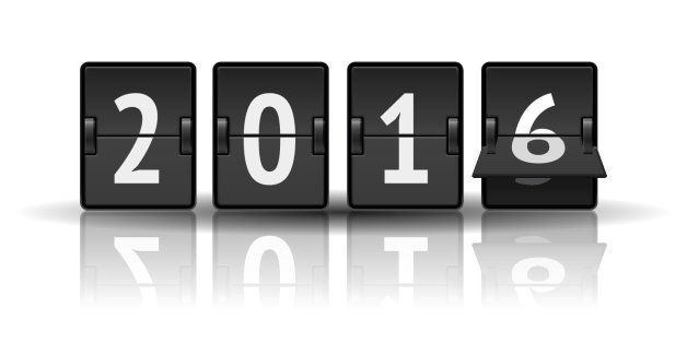 2016 countdown timer with flip isolated on white background. Analog scoreboard calendar change represents the new year 2016