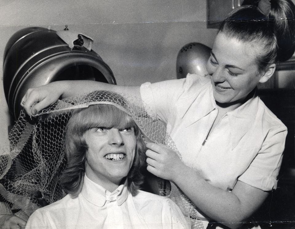 Bowie's hair was always iconic, even when was still known Davy Jones, as proven by this shot of hairdresser Sylvia Halliiday