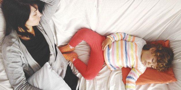 mom, daughter, sleep, sofa