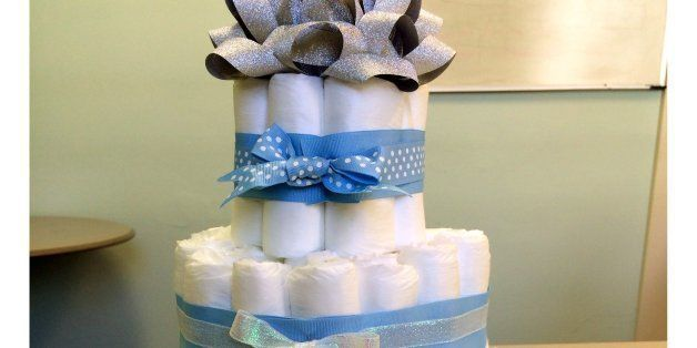 Baby Shower Cake Made From Diapers