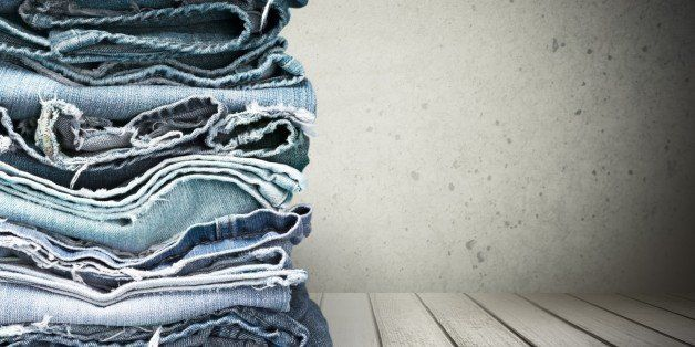 Jeans Denim Stack Clothing Old Torn Heap