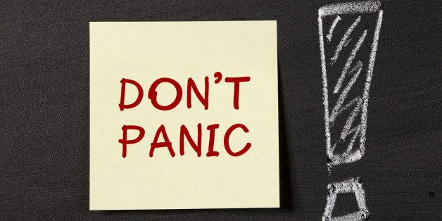 Don't Panic! note with big excalmatory mark on blackboard.