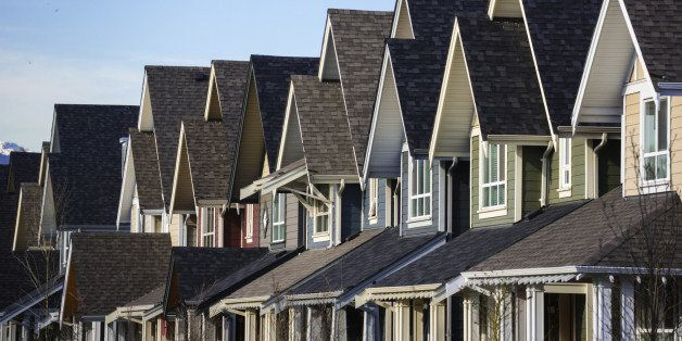 Real estate. A row of new townhouses.