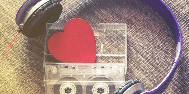Love music concept. Selective focus image cross processed for retro look