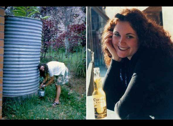 Left: Michelle gets water from a cistern  in Uganda in 1972. The water could only be used after a lengthy process of purifyin