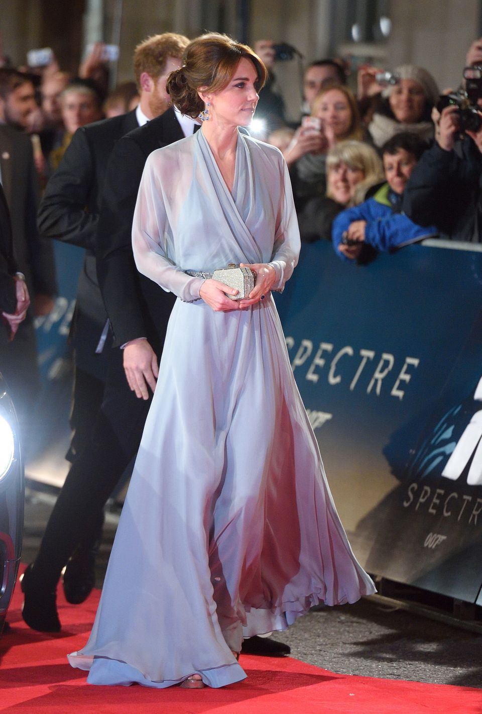 The Duchess of Cambridge looked a vision in an ice-blue Jenny Packham gown at the London premiere of 'Spectre' on October 26,