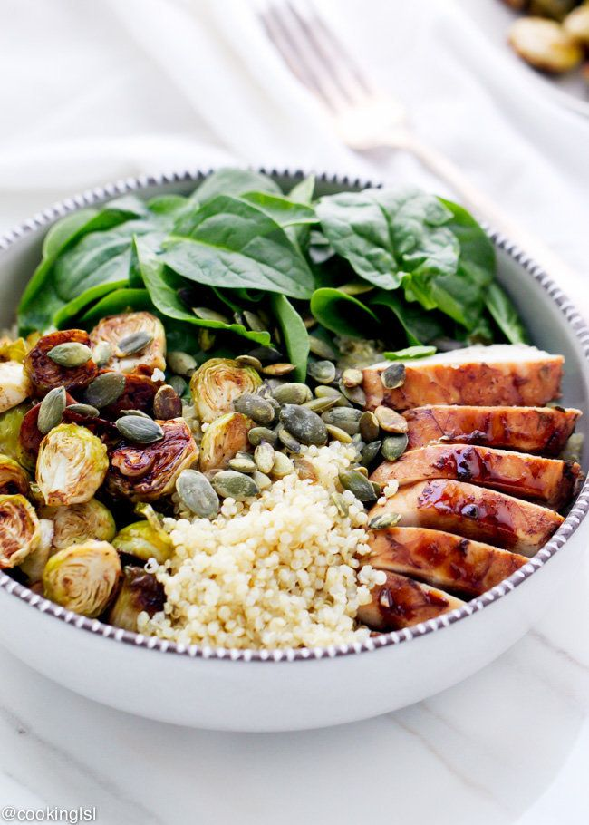 "Get the recipe from <a href=""http://cookinglsl.com/balsamic-brussels-sprouts-and-chicken-quinoa-bowls/"" target=""_blank"">Cooki"