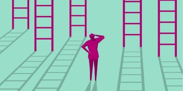 businessman choices ladder to success.
