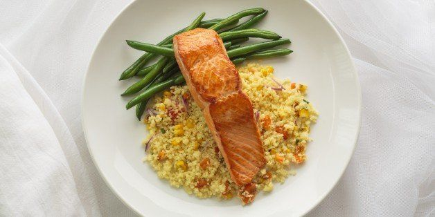Pan seared Chinook Salmon with country-style couscous and green beans