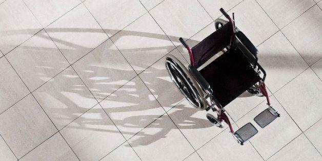 Empty wheel chair in lobby