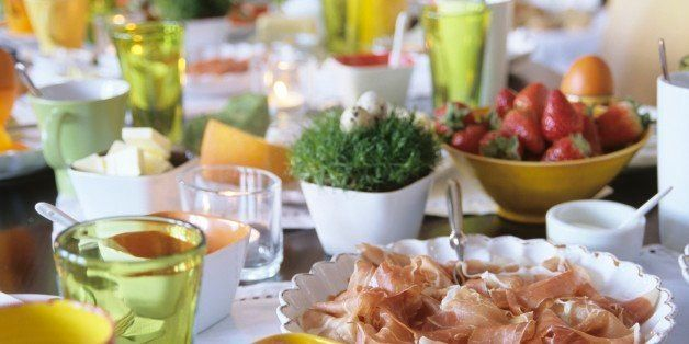 Easter table setting, close-up