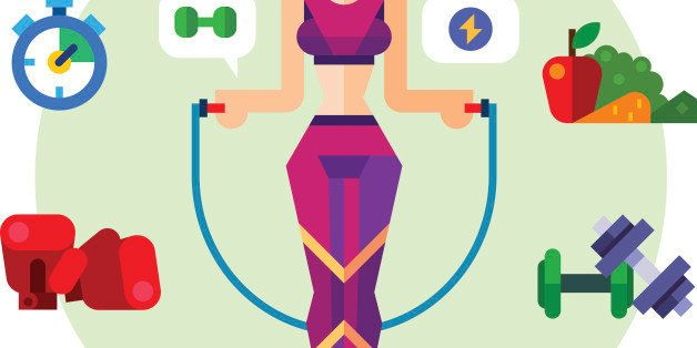 Happy and healthy fitness girl with a skipping rope. Sport style symbols: vegetables, shaping, cardio, dumbbells, boxing gloves, healthy food. Vector flat icon and illustration set