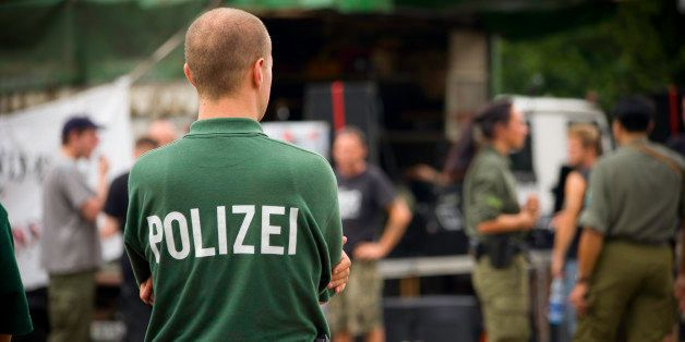 Policemen in berlin, germany, during a public manifestation.