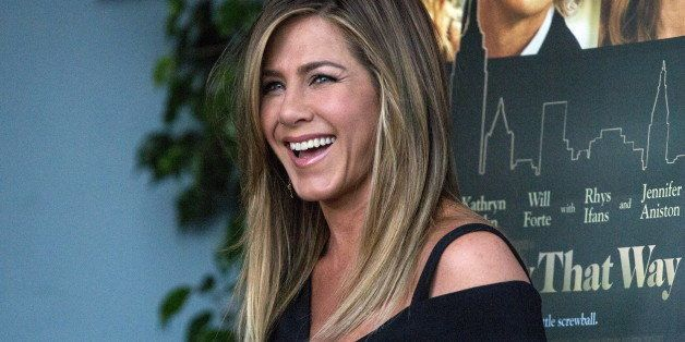 "Cast member Jennifer Aniston poses at the premiere of ""She's Funny That Way"" in Los Angeles, California August 19, 2015. The movie opens in the U.S. on August 21.  REUTERS/Mario Anzuoni"