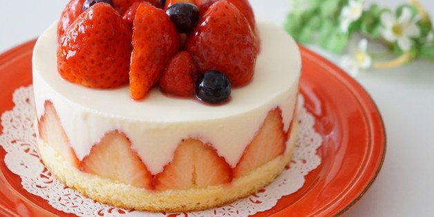 Strawberry cake on a plate.