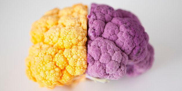 Yellow and purple cauliflower, studio shot