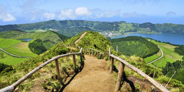 Hiking path along the crater lakes of Sao Miguel