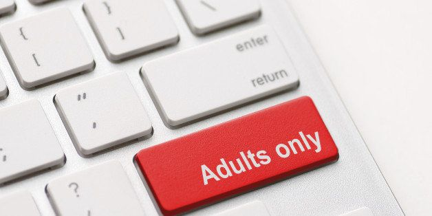 adults only message on enter key, for pornography websites concepts.