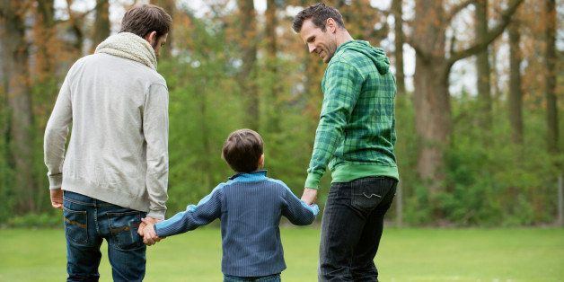 Rear view of a boy walking with two men in a park