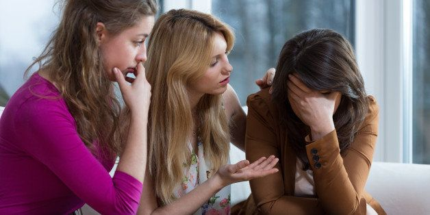 Three girl friends overcoming a difficult problem