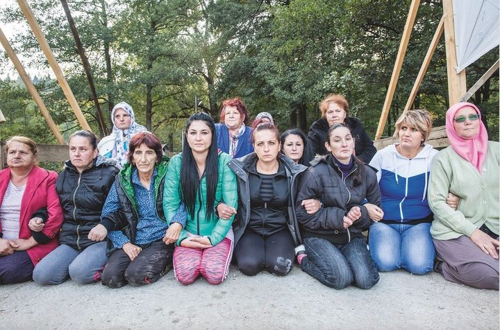 Women in the Bosnian mountain village of Kruščica form a blockade to stop the construction of a dam.