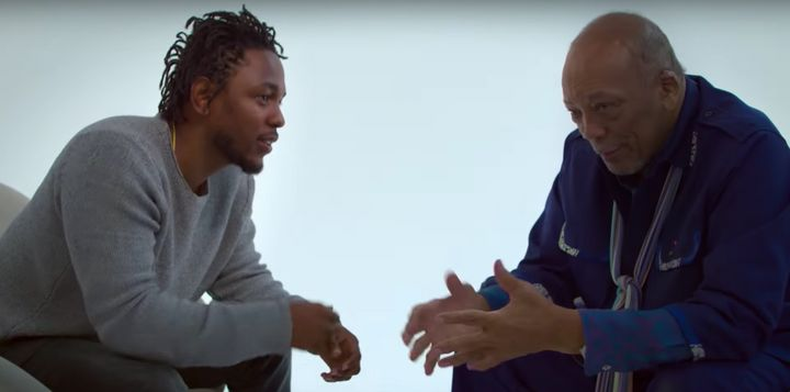 "Kendrick Lamar and Quincy Jones in a screenshot from the ""Quincy"" trailer."